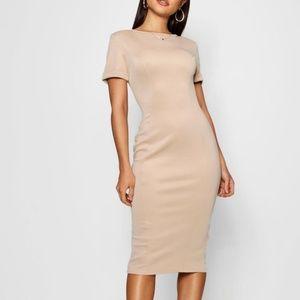NEW Boohoo Nude Stone Hourglass Midi Dress | 4